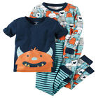 Carter's 4 Piece Navy/Grey Allover Monster Printed Tops with Matching Pants Paja