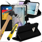 Black Carbon Fibre Leather Book Wallet Phone Case Cover✔Glass Screen Protector