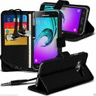 Black Carbon Fibre Quality Leather Wallet Phone Case Cover+In Ear Headphones