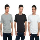 Mens 3 Pack Short Sleeve T-Shirts Tees 100% Cotton Black Grey & White