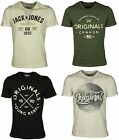 NEW MENS JACK & JONES TSHIRT SHORT SLEEVE IN BLACK GREEN WHITE COLOURS S-2XL