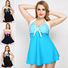 Women Swimwear Swimdress Halter Neck Striped Polka Dots Bathing Suit 20 18 14 12
