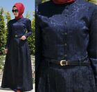 Abaya Women 10 to 16 US SIZE Long Sleeve Maxi Long Dress Cotton Blend Blue MSE