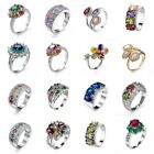 Size 6/7/8/9/10 Topaz Retro Gifts Colorful Rings Women Silver/Gold Wedding