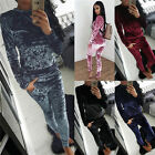 NEW WOMENS LADIES VELVET VELOUR CRUSHED 2PC JOGGING TOP LOUNGEWEAR TRACKSUIT SET