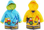 Wippette Toddler Boys Rainwear Waterproof Hooded Construction Raincoat Jacket