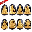 Natural Obsidian Carve Buddha Lucky Amulet 18k gold-plated Pendant Necklace