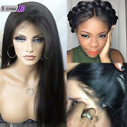"14"" Silky Straight full/front lace wigs 100% real remy human hair 5 colors"
