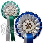 50 x Personalised Dog Show Rosettes, 2 tier Dog Agility Rosettes - PAW2