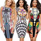 Womens African Tribal Exotic Pencil Dress Sleeveless Summer Party Club Work 6-14