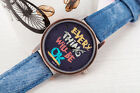 Printed canvas strap analog denim watch for men women unisex