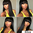 Straight Full Lace Human Hair Wigs Glueless Lace Front Wigs With Blunt Bangs
