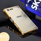 Shockproof Brushed PC Mirror Cover + Aluminum Metal Case Bumper For Sony Xperia