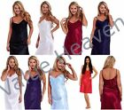 Ladies Satin Chemise Cami Nightie Knee Length Nightdress Silky Negligee UK MADE