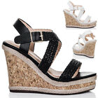 Womens Platform Espadrille Cork Wedge Heel Barely There Strappy Sandals Shoes Sz
