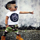 Toddler Baby Kids Cool Boys Clothes Set T-shirt Tops Camouflage Pants Outfits