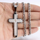 MENS Stainless Steel 5mm Curb Chain Necklace Scripture Christian Cross Pendant