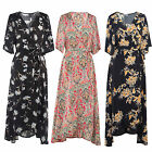 New Womens Ladies Vintage Bohemian Print Loose Half Sleeve Floral Long Dress
