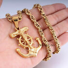 Jesus Anchor Wheel Mens Chain Gold Tone 316L Stainless Steel Pendant Necklace