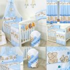 Bedding Set for Cot 120x60cm, or Cotbed 140x70cm Canopy Curtains #8 Teddies Blue
