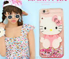 Cute Hello Kitty Mirror Bling Flowing Liquid Love Glitter Soft Strap Case Cover