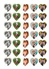 35 65 HEART PRECUT PERSONALISED OWN PHOTO EDIBLE CUPCAKE TOPPERS RICE CARD