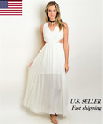 Women Casual Formal Sexy Off White Sleeveless Waist Side Cut Out Maxi Dress