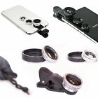 Universal 3in1 Clip On Camera Lens Kit Wide Angle Fish Eye Macro Smart Phone