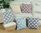 Natural Linen Texture Cushion Cover Shell Embroidered Quatrefoil Accent GEO 45cm