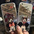 For iPhone 7 7 Plus 6 6S Cute Sparkel Mirror Minnie Mickey Mouse Soft Case Cover