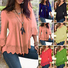 Fashion Women Long Sleeve Blouses V-neck Casual Ladies Tank Tops Loose T-Shirts