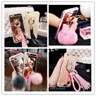 Hot Cute Mirror Rabbit Fur Plush Ball Charm Case Cover for iPhone 7 Plus/Samsung
