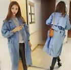 YOUNG Girls Womens Single Breasted Pocket Lapel Belt Denim Trench Jackets Coats