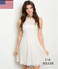 Women Casual Party Sleeveless Off White All Over Lace Skater Dress