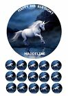 "UNICORN MAGICAL HORSE 7.5"" ROUND EDIBLE BIRTHDAY CAKE TOPPER + CUPCAKE TOPPERS"