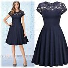 MIUSOL Women's Vintage Cocktail Party Ball Gown Floral Lace Casual Pleated Dress