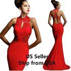 Womens Prom Lace Evening Dress Cocktail Ball Gown Mermaid Red Size 4/6/8/10/12