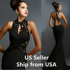 Womens prom lace evening dress cocktail ball gown mermaid size 4/6/8/10/12 BLACK