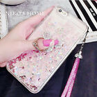 Cute Bling Flowing Glitter Diamond Mickey Ring Kickstand Strap Phone Case Cover