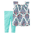 Carter's 2 Piece White Paisley Printed Babydoll Top with Blue Capr - Toddler