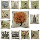 Cotton Linen Vintage Insect Pillow Case Cover Throw Cushion Weather Archit