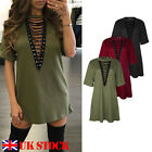 New Sexy Women Choker V Neck Casual Loose Tops T-Shirt Lace-up Plunge Mini Dress