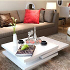 High Gloss Coffee Table 3 Layer Square Living Room Modern Furniture White/Black