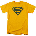 Superman NAVY & GOLD SHIELD Licensed Adult T-Shirt All Sizes