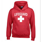 LIFEGUARD HOODIE WHITE LOGO BEACH SWEATSHIRT CALIFORNIA BEACHES LIFE GUARD