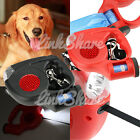 US Local Automatic Outdoor Retractable Pet Dog Leash Collar With Light Black Red