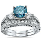 Charming 925 Silver Blue Topaz White Sapphire Wedding Ring Set Jewelry Size 6-9