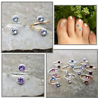 Toe Midi Ring Non Tarnish Silver Gold Plated Wire with Preciosa Rhinestone