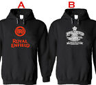 Royal Enfield New Black Hooded Pullover Hoodie Men's S - 2XL