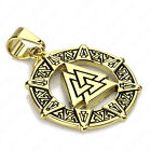 Men Gold Valknut Odin's Symbol of Norse Viking Stainless Steel Pendant Necklace